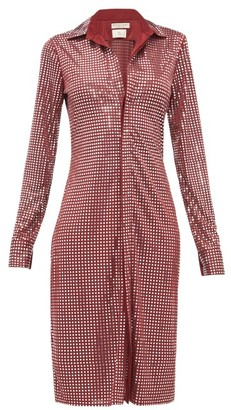 Bottega Veneta Mirror Embellished Satin Jersey Shirtdress - Womens - Burgundy