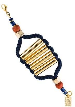Lizzie Fortunato Lapiz Lazuli, Wood, & Cord Bracelet