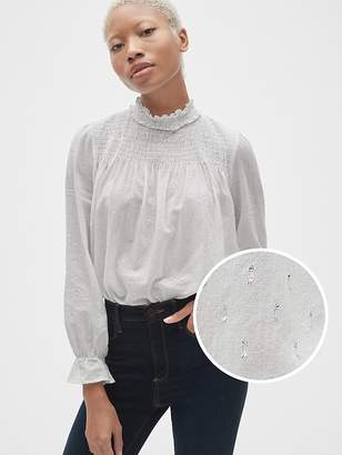 Gap Smocked Ruffle Mockneck Blouse in Metallic Clip-Dot