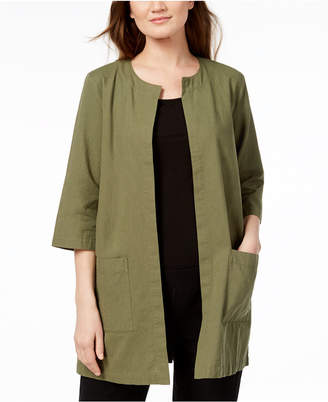 Eileen Fisher Collarless Organic Cotton Jacket, Created for Macy's