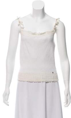 Chanel Silk-Trimmed Sleeveless Top