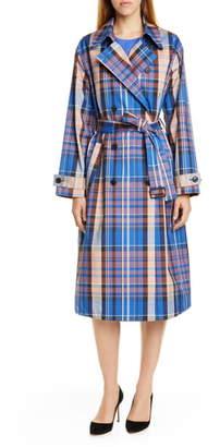 BOSS Checkinada Glen Check Stretch Cotton Blend Trench Coat