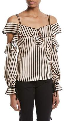 Self-Portrait Striped Off-the-Shoulder Satin Frill Top