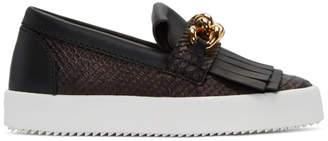 Giuseppe Zanotti Black Python-Embossed London Slip-On Sneakers