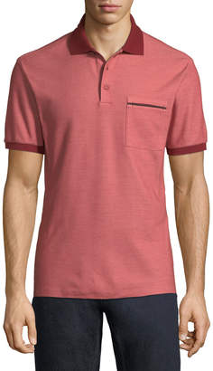 Ermenegildo Zegna Contrast-Trim Pique Polo Shirt, Red