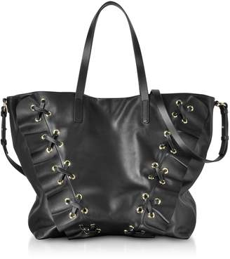 RED Valentino Black Leather Ruffle Tote Bag