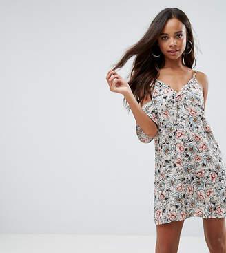 Missguided Petite Floral Strappy Cold Shoulder Dress