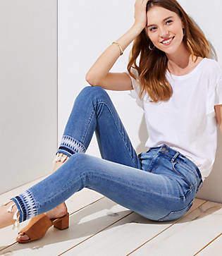 LOFT Modern Tasseled Skinny Crop Jeans in Dark Classic Indigo Wash