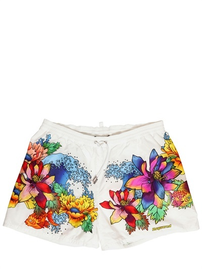DSquared Hibiscus Printed Nylon Swimming Shorts
