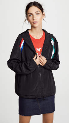 Cynthia Rowley Striped Zip Up Windbreaker