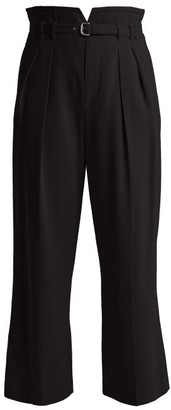 RED Valentino High Rise Straight Leg Crepe Trousers - Womens - Black