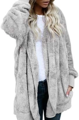 WO-STAR Fleece Sherpa Jacket Hooded Coat with Pocket Winter Warm Outwear L