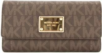 Michael Kors Brown Signature Canvas Jet Set Checkbook Wallet (3554020)