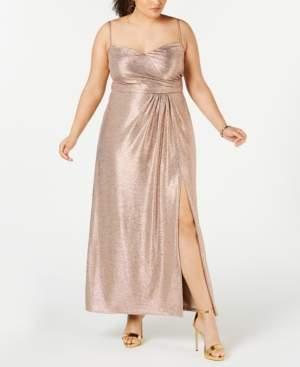 Night Way Nightway Plus Size Draped Metallic Gown