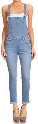 SALT TREE Women's Sneak Peek Skinny Washed Out Denim Overall Pants, US Seller