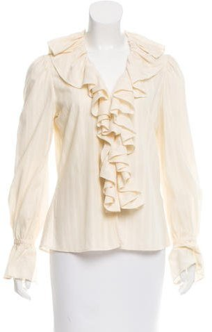 Ralph Lauren Ruffle-Trimmed Button-Up Top
