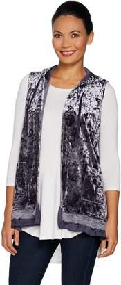Logo By Lori Goldstein LOGO by Lori Goldstein Panne Velvet Hooded Vest w/ Lace Trim