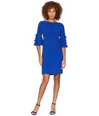 Gabby Skye Women's 3/4 Tiered Bell Sleeves a-Line Knee Length Dress