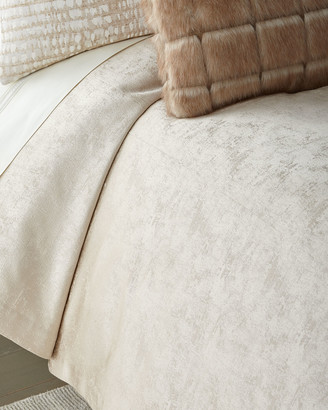 Fino Lino Linen & Lace Shimmer Flax Queen Coverlet