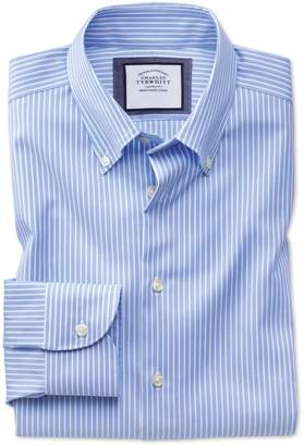 Charles Tyrwhitt Slim Fit Business Casual Non-Iron Sky Blue and White Stripe Cotton Dress Shirt Single Cuff Size 15/33