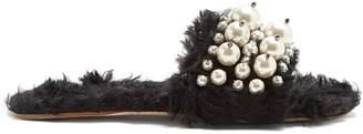 Miu Miu Embellished faux-shearling slides
