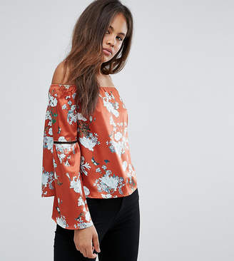 Missguided Tall Bardot Floral Print Top