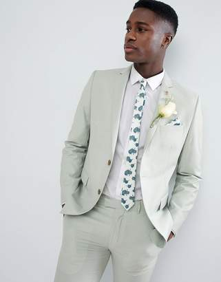 Farah Smart Skinny Suit Jacket In Green