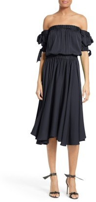 Women's Milly Zoey Off The Shoulder Stretch Silk Midi Dress $595 thestylecure.com