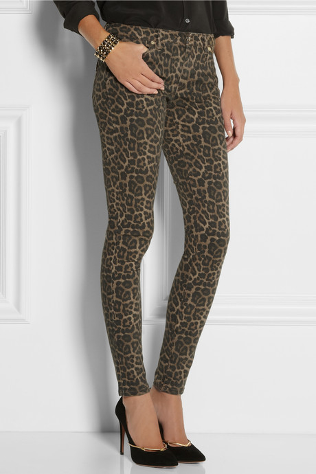 MICHAEL Michael Kors Jaguar-print low-rise skinny jeans