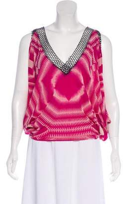 Jean Paul Gaultier Abstract Print V-Neck Top