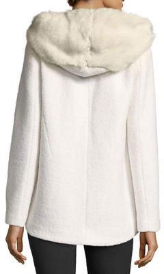 Laundry by Shelli Segal Short Wool Boucle Top Coat w/ Faux-Fur Hood