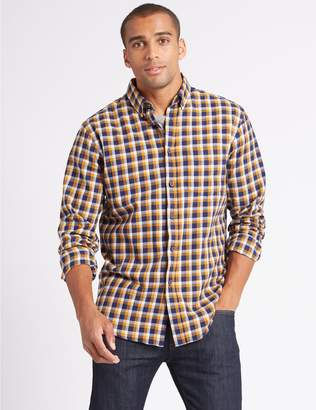 Marks and Spencer Flannel and Brushed Cotton Checked Shirt