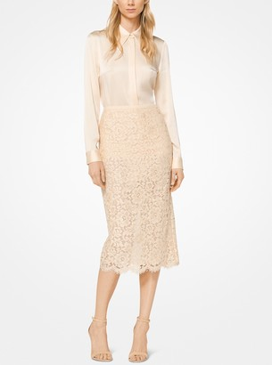 Michael Kors Floral Guipure Pencil Skirt