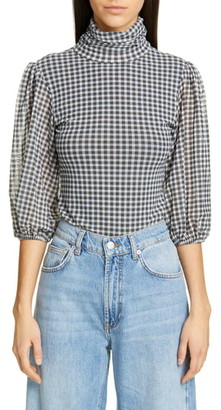 Ganni Check Print Mesh Top