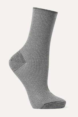 Maria La Rosa Ribbed Metallic Wool-blend Socks - Gray