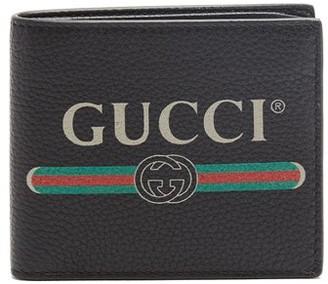 Gucci Logo Print Bi Fold Leather Wallet - Mens - Black Multi