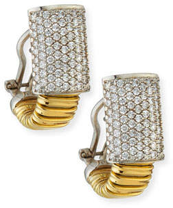Milani Alberto 18k Tubogas Small Diamond Huggie Hoop Earrings