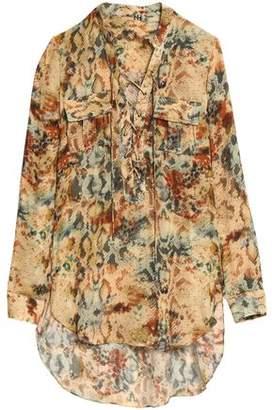 Haute Hippie Lace-Up Printed Silk Shirt
