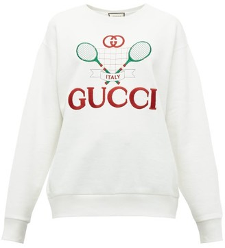 459211102 Gucci Tennis Logo Embroidered Cotton Jersey Sweatshirt - Womens - Ivory  Multi