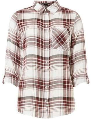 Dorothy Perkins Womens Burgundy and White Checked Shirt