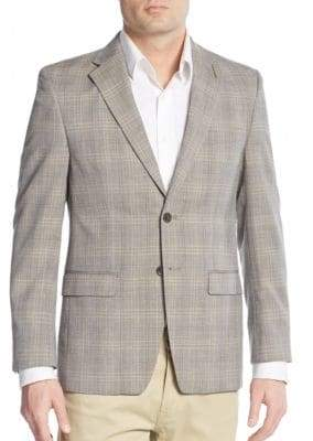 Calvin Klein Windowpane Check Wool & Linen Blend Blazer