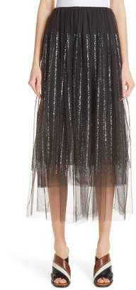 Brunello Cucinelli Sequin Stripe Tulle Overlay Skirt