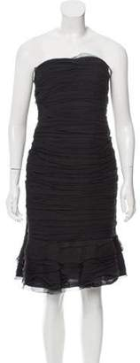 Oscar de la Renta Strapless Silk Dress Black Strapless Silk Dress