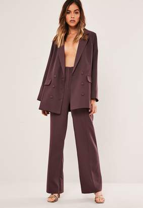 Missguided Petite Purple Co Ord Seam Detail Straight Leg Trousers