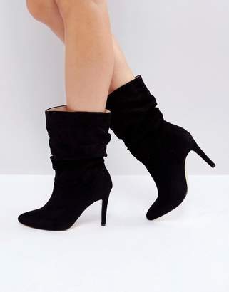 London Rebel Rouched Low Height Stiletto Boot