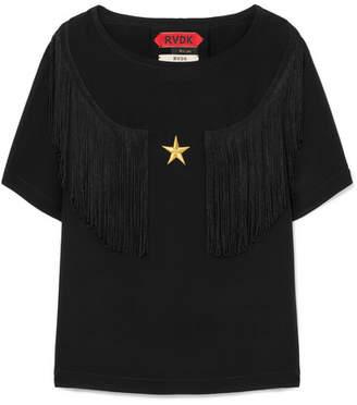 Ronald van der Kemp - Fringed Embroidered Silk Crepe De Chine Top - Black
