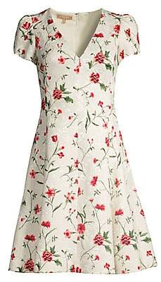 Michael Kors Women's V-Neck Floral Jacquard Dress