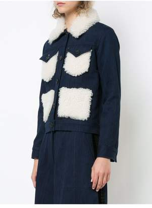 ADAM by Adam Lippes Denim Jacket With Shearling Collar And Patch Pockets
