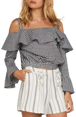 Willow & Clay Gingham Cold Shoulder Top