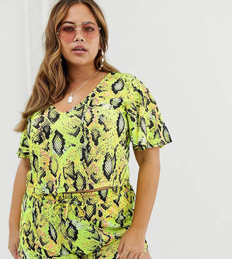 Asos DESIGN Curve jersey beach crop top with flutter sleeves in neon snake print two-piece